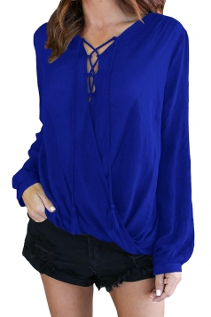 V-Neck Lace Up Long Sleeve Knotted Asymmetrical Hem Blouse Sapphire Blue