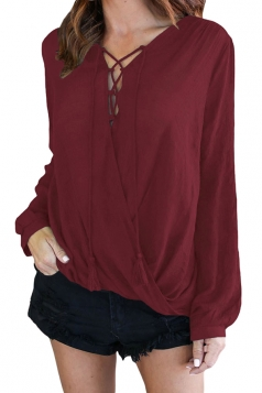 V-Neck Lace Up Long Sleeve Knotted Asymmetrical Hem Blouse Ruby