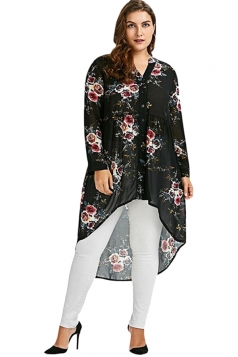 V-Neck Long Sleeve Plus Size High Low Floral Printed Blouse Black