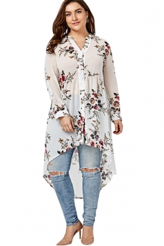 V-Neck Long Sleeve Plus Size High Low Floral Printed Blouse White