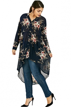 V-Neck Long Sleeve Plus Size High Low Floral Printed Blouse Navy Blue