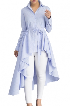 Womens Lapel Strip Belt High Low Ruffle Long Sleeve Blouse Light Blue
