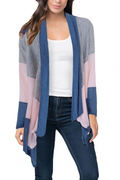 Womens Casual Color Block Irregular Hem Cardigan Blue