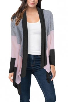 Womens Casual Color Block Irregular Hem Cardigan Black