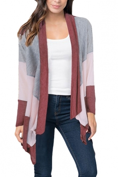 Womens Casual Color Block Irregular Hem Cardigan Ruby