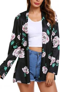 Womens Flower Printed Raglan Sleeve Open Front Cardigan Black