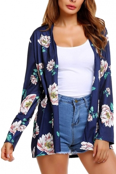 Womens Flower Printed Raglan Sleeve Open Front Cardigan Navy Blue
