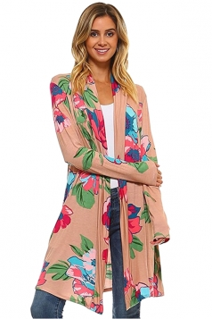 Womens Flower Printed Long Sleeve Cardigan Khaki