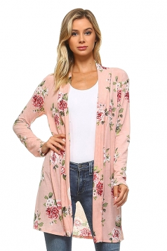 Womens Flower Printed Long Sleeve Cardigan Pink