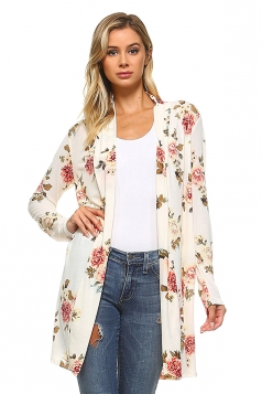 Womens Flower Printed Long Sleeve Cardigan White