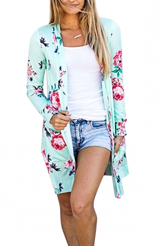 Womens Flower Printed Open Front Cardigan With Pocket Turquoise