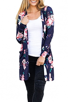 Womens Flower Printed Open Front Cardigan With Pocket Navy Blue