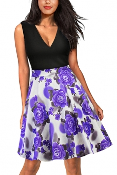 Sexy V Neck Flower Print Sleeveless Fit And Flare Dress Purple