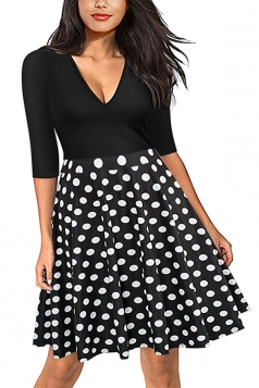 Vintage 3/4 Sleeve V Neck Fit And Flare Black Dress With Polka Dots