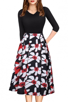 Sexy 3/4 Sleeve Flower Print Knee Length Midi Dresses Black