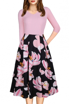 Sexy 3/4 Sleeve Flower Print Knee Length Midi Dresses Pink