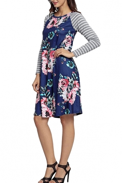 Women Long Sleeve Flower Loose Casual Swing Tee Shirt Dress Blue