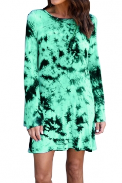 Women Long Sleeve Backless Casual Tie Dye Tee Shirt Dress Green