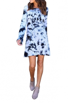 Women Long Sleeve Backless Casual Tie Dye Tee Shirt Dress Light Blue