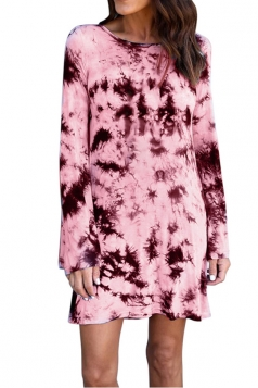 Women Long Sleeve Backless Casual Tie Dye Tee Shirt Dress Pink
