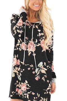 Women Long Sleeve Flower Hooded Sweatshirt Dress With Pocket Black
