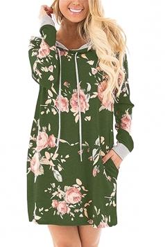 Women Long Sleeve Flower Hooded Sweatshirt Dress With Pocket Green