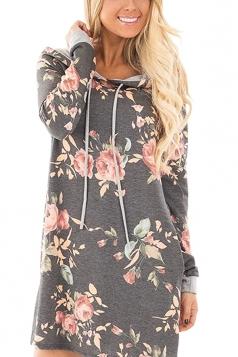 Women Long Sleeve Flower Hooded Sweatshirt Dress With Pocket Gray