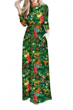 Women Long Sleeve Christmas Sock Themed Maxi Dresses Army Green