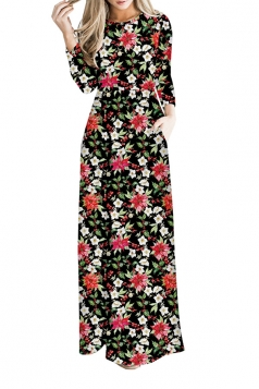 Women Long Sleeve Snowflake Christmas Themed Maxi Dresses Black