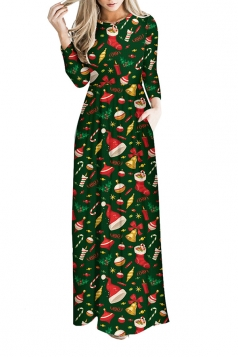 Women Long Sleeve Christmas Tree Themed Maxi Dresses Green