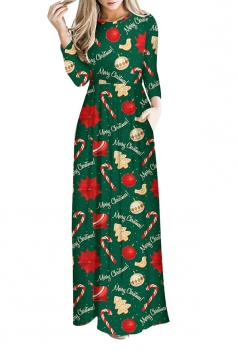 Women Long Sleeve Christmas Tree Print Maxi Dresses Green