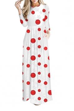 Women Long Sleeve Christmas Print Maxi Dresses Red