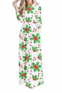 Women Long Sleeve Christmas Print Casual Maxi Dresses White