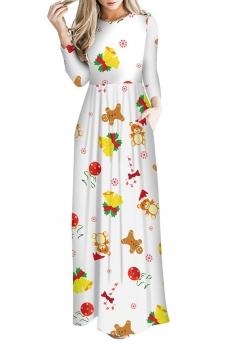 Women Long Sleeve Christmas Jingle Bell Print Maxi Dresses Yellow