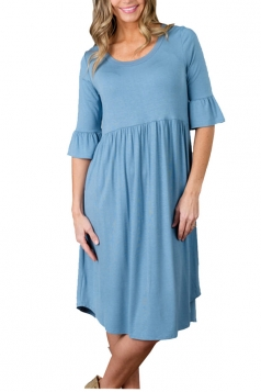 Light Blue 3/4 Sleeve Casual Knee Length Skater Dresses