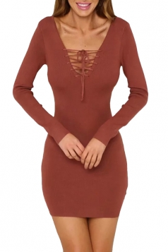 Women V Neck Lace Up Cardigans Sweater Dresses Dark Red