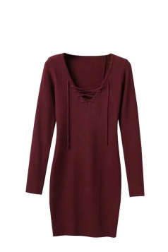 Women V Neck Lace Up Cardigans Sweater Dresses Ruby