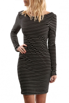 Women Casual Stripes Open Back Long Sleeve Shirt Dress Black