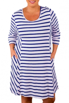 Plus Size White Stripes Relaxed Curvy Dress Blue