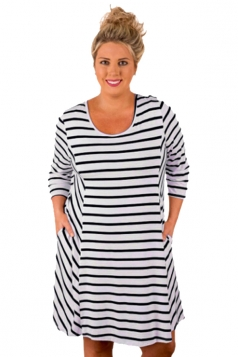 Plus Size White Stripes Relaxed Curvy Dress Black