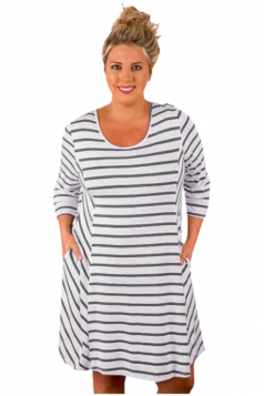 Plus Size White Stripes Relaxed Curvy Dress Gray