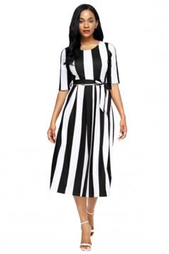 Black Stripe Print Half Sleeve Belted Skater Dress