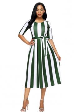 Green Stripe Print Half Sleeve Belted Skater Dress