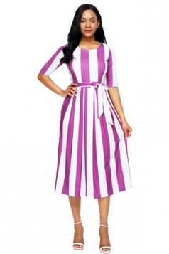 Purple Stripe Print Half Sleeve Belted Dress