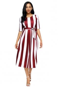Ruby Stripe Print Half Sleeve Belted Skater Dress