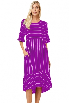 Purple White Striped Bell Sleeve Hi-Low Midi Dress