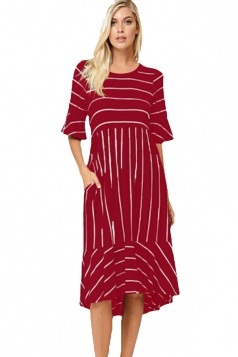 Ruby White Striped Bell Sleeve Hi-Low Midi Dress