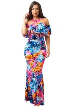 Women Sexy Off Shoulder Ruffle Flower Printed Maxi Dress Blue