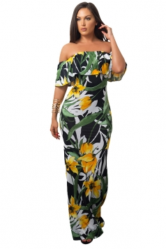 Women Sexy Off Shoulder Ruffle Flower Printed Maxi Dress Black