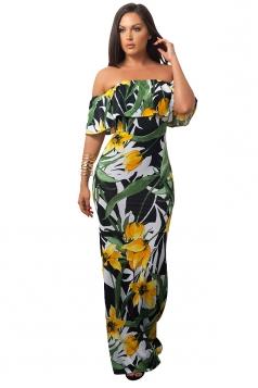 Women Sexy Off Shoulder Ruffle Flower Printed Maxi Dress Black